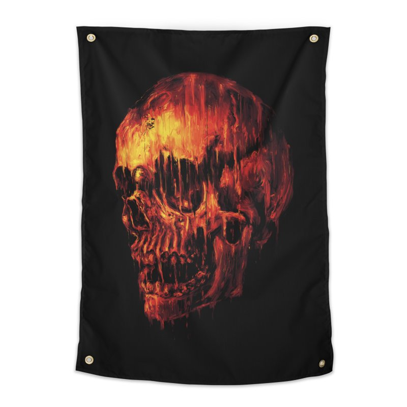 Melting Skull Home Tapestry by nicebleed