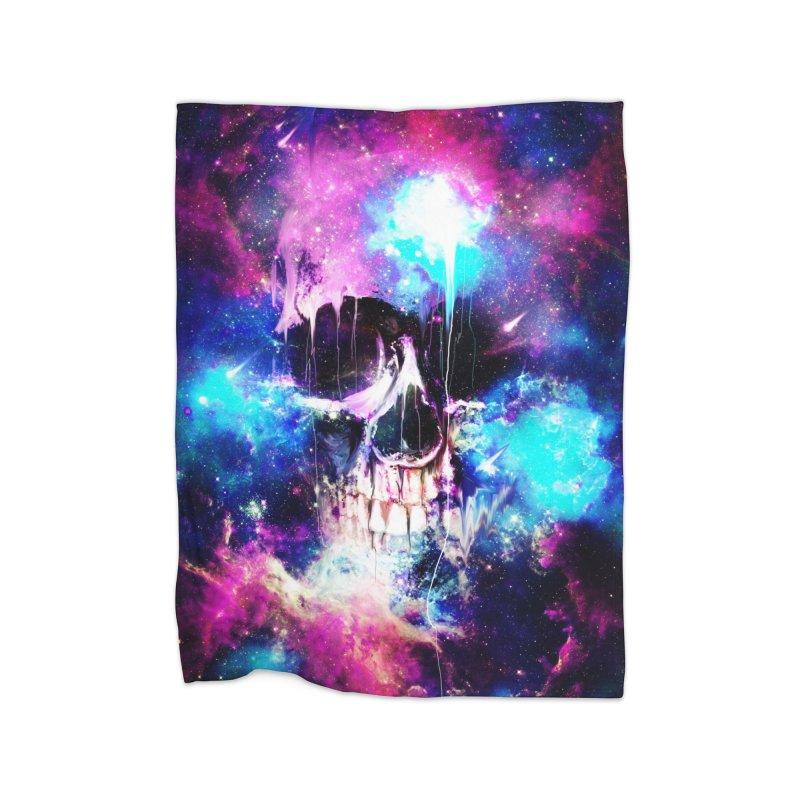 Space Skull Home Fleece Blanket by nicebleed