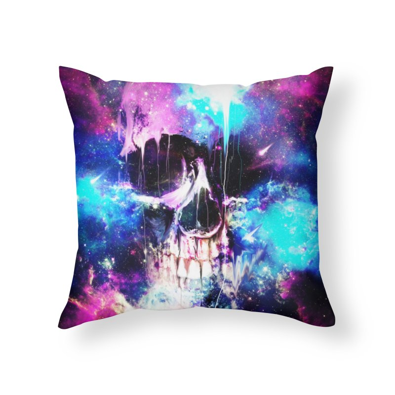 Space Skull Home Throw Pillow by nicebleed