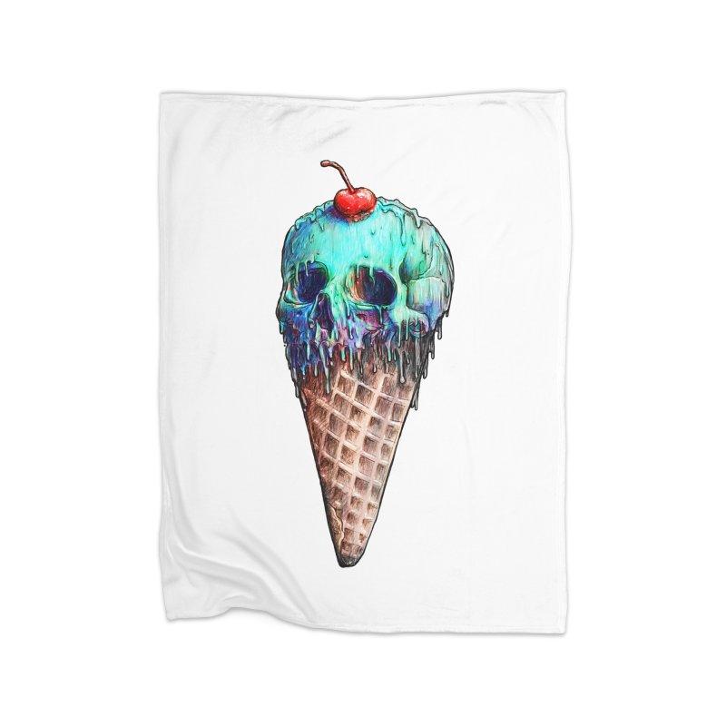 Ice Cream Skull Home Fleece Blanket by nicebleed