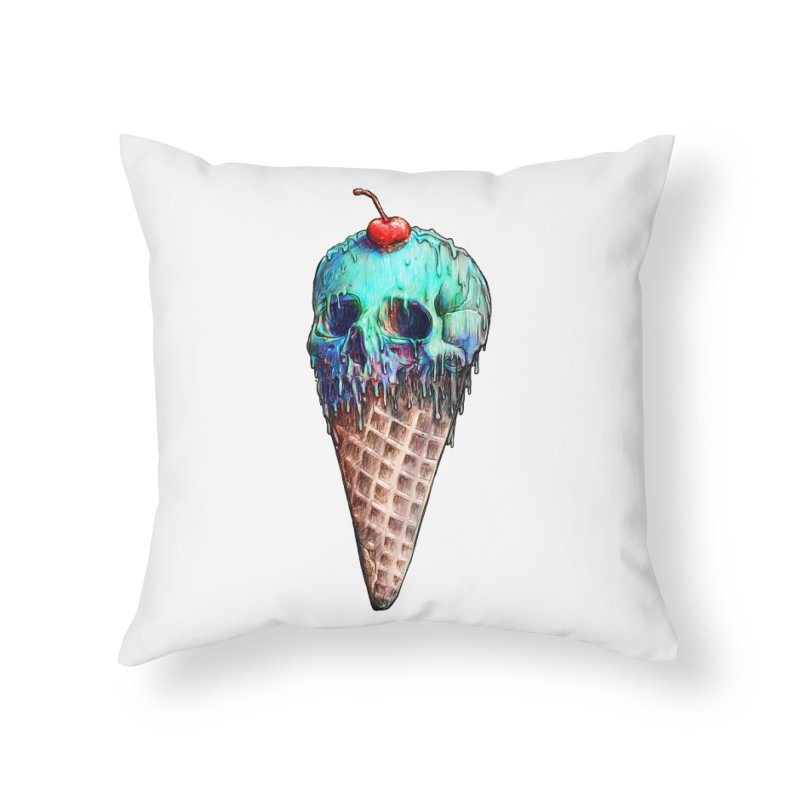 Ice Cream Skull Home Throw Pillow by nicebleed