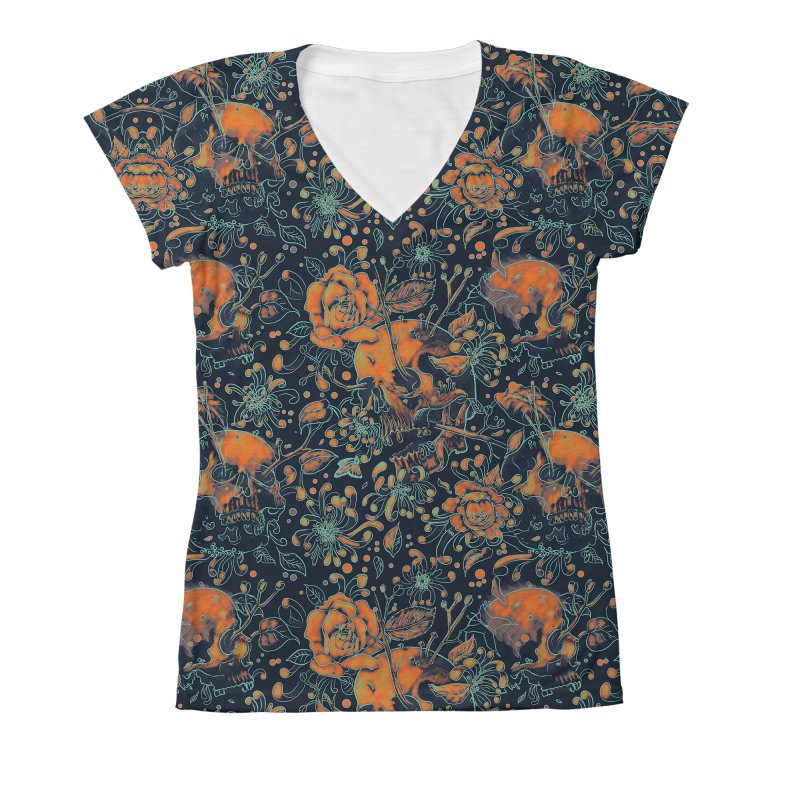 Life & Death Pattern Women's V-Neck All Over Print by nicebleed