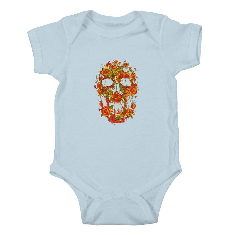 Skull Flora Kids Baby Bodysuit by nicebleed