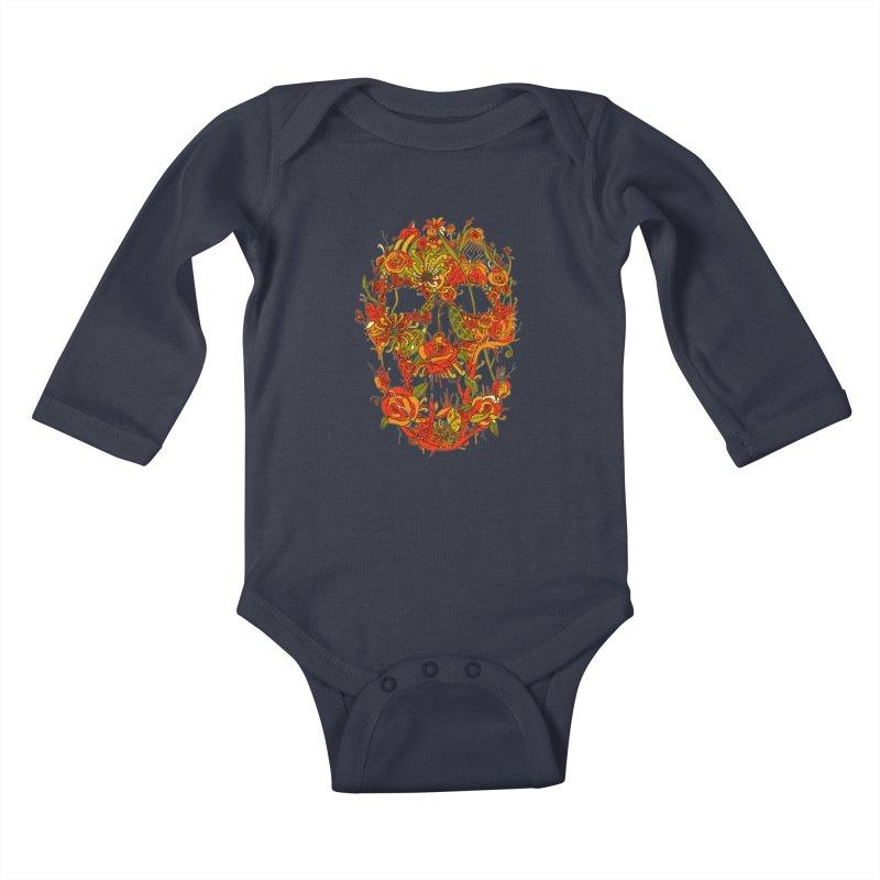 Skull Flora Kids Baby Longsleeve Bodysuit by nicebleed