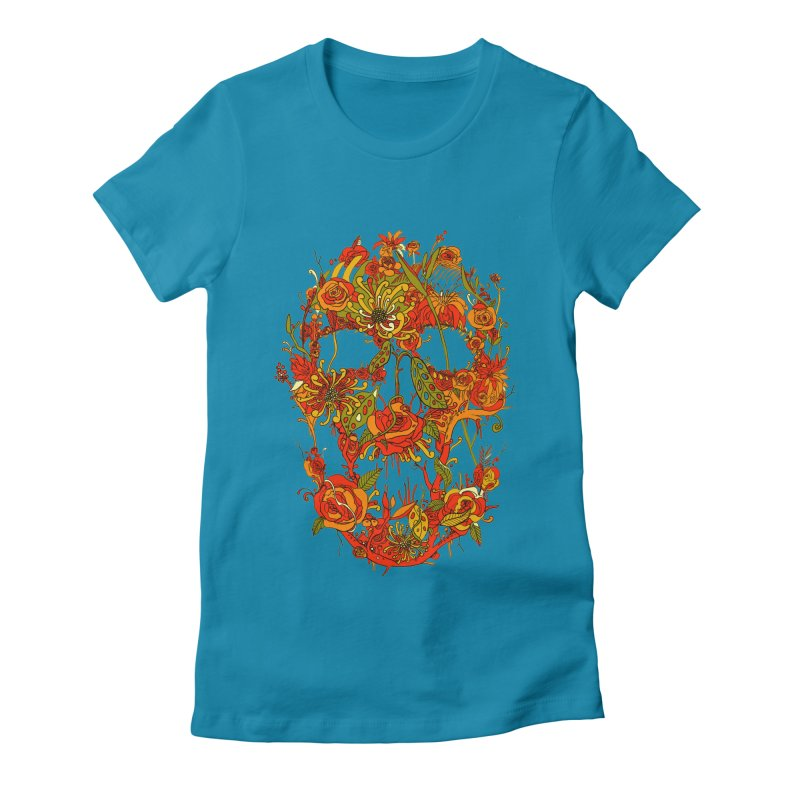 Skull Flora Women's Fitted T-Shirt by nicebleed