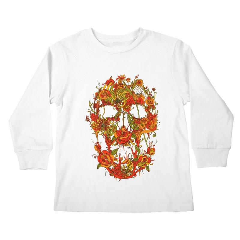 Skull Flora Kids Longsleeve T-Shirt by nicebleed