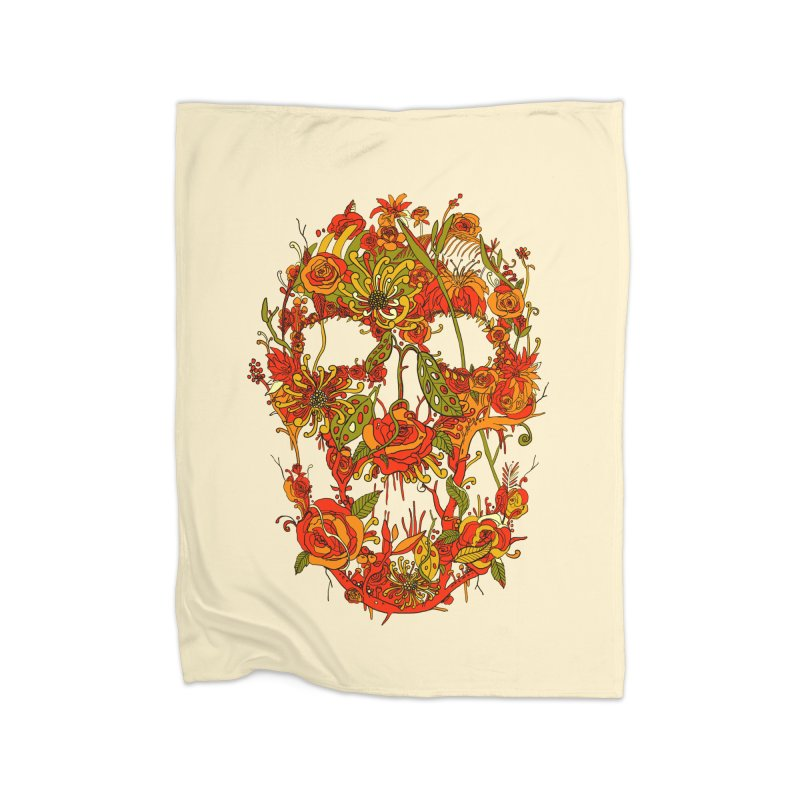 Skull Flora Home Fleece Blanket by nicebleed
