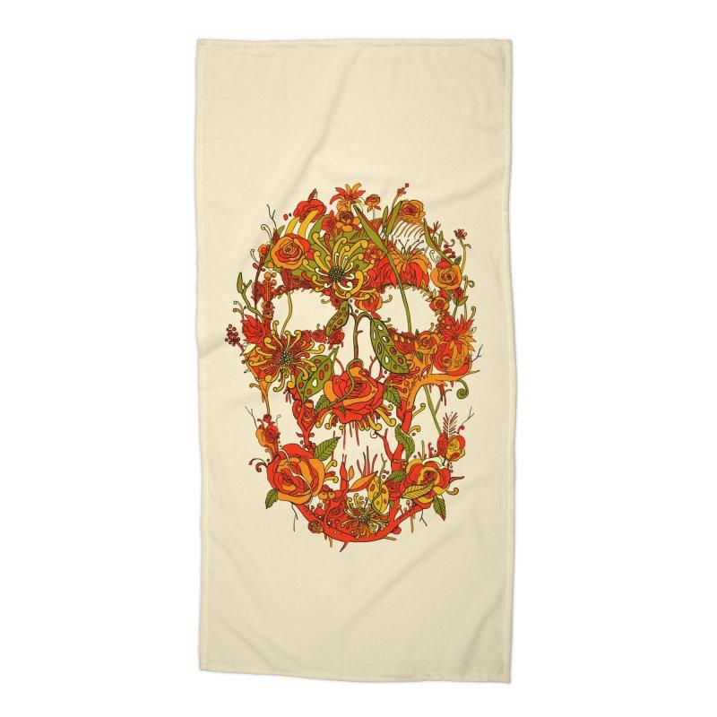 Skull Flora Accessories Beach Towel by nicebleed