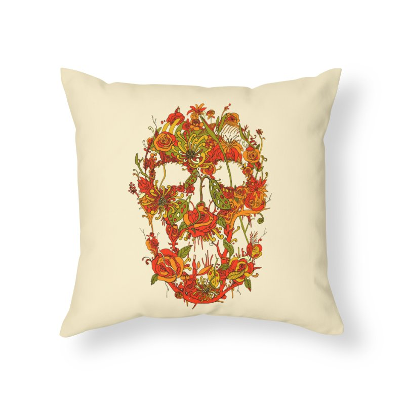 Skull Flora Home Throw Pillow by nicebleed