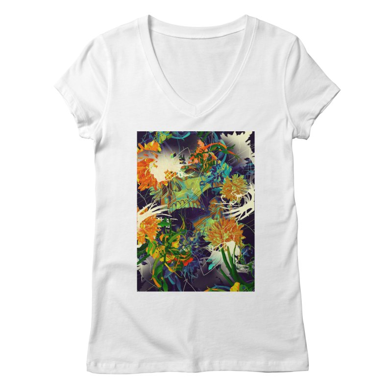 Skull Flora Women's V-Neck by nicebleed
