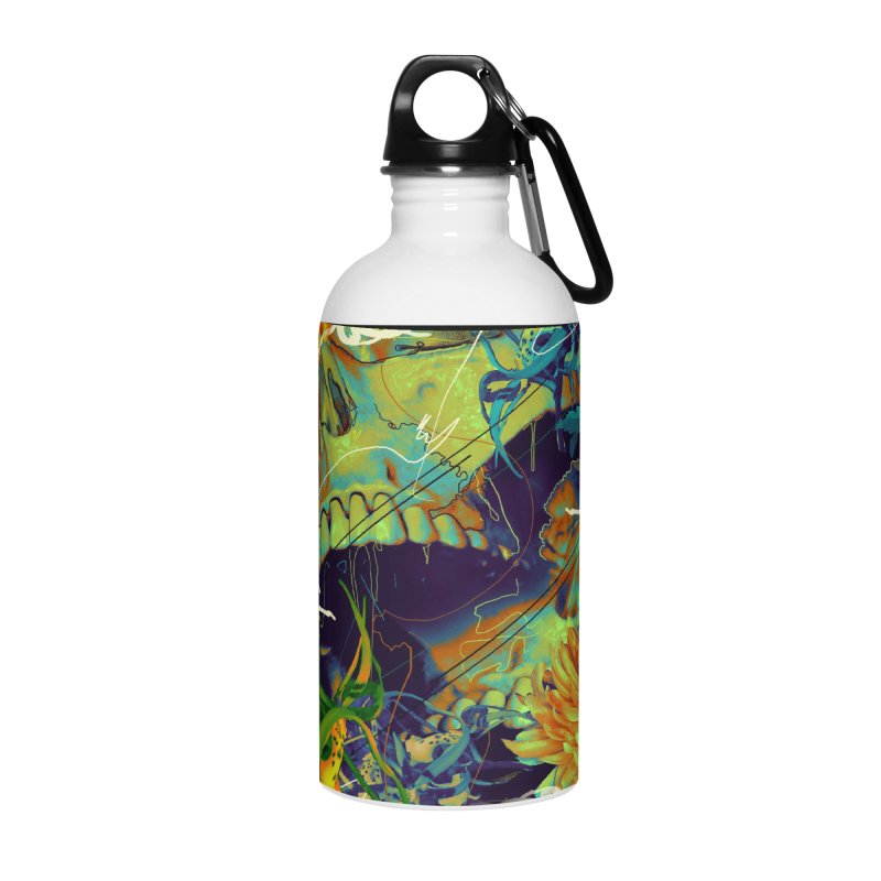 Skull Flora Accessories Water Bottle by nicebleed