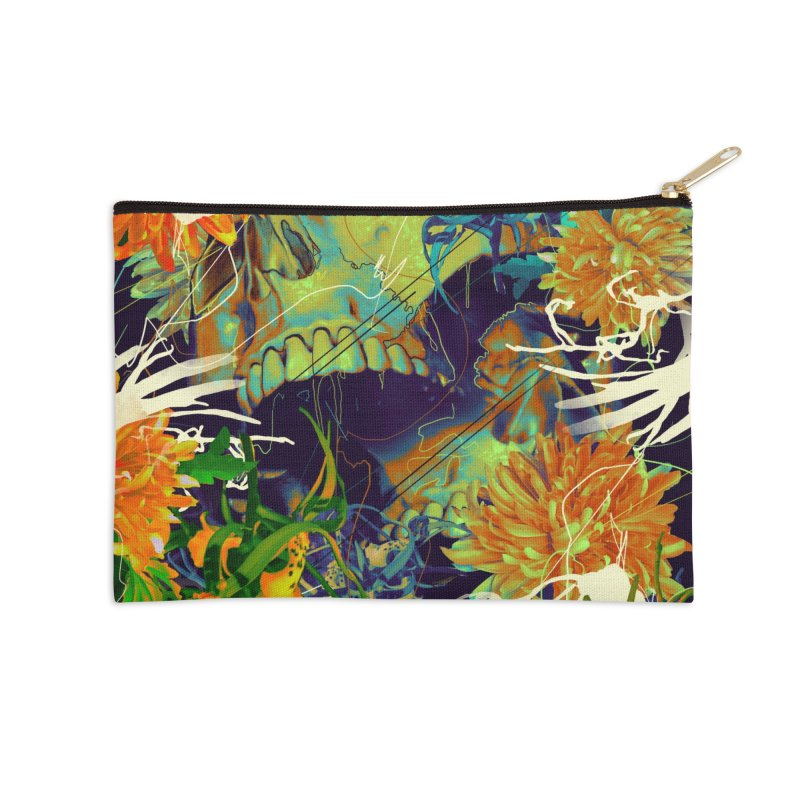 Skull Flora Accessories Zip Pouch by nicebleed