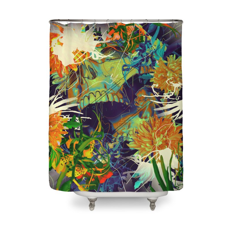 Skull Flora Home Shower Curtain by nicebleed