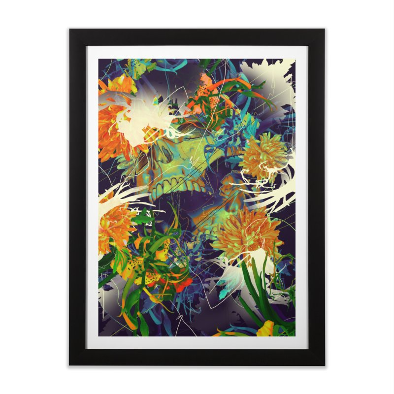 Skull Flora Home Framed Fine Art Print by nicebleed