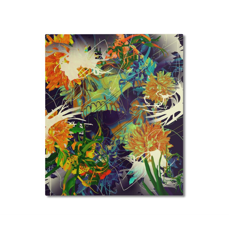 Skull Flora Home Mounted Aluminum Print by nicebleed