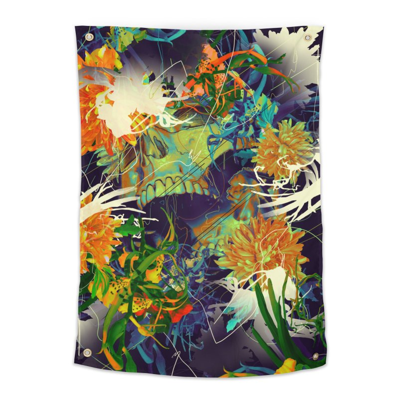 Skull Flora Home Tapestry by nicebleed