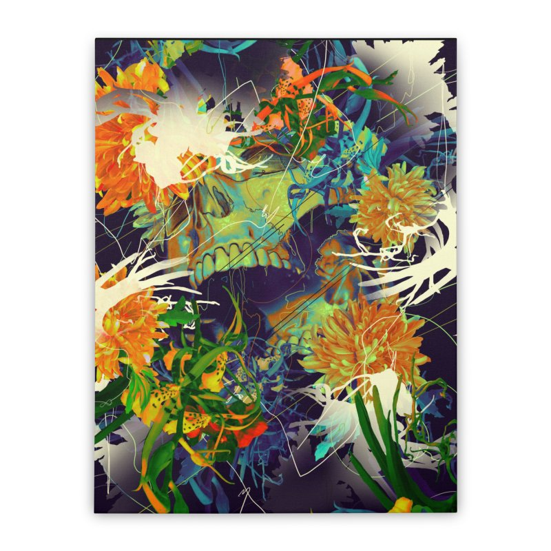 Skull Flora Home Stretched Canvas by nicebleed