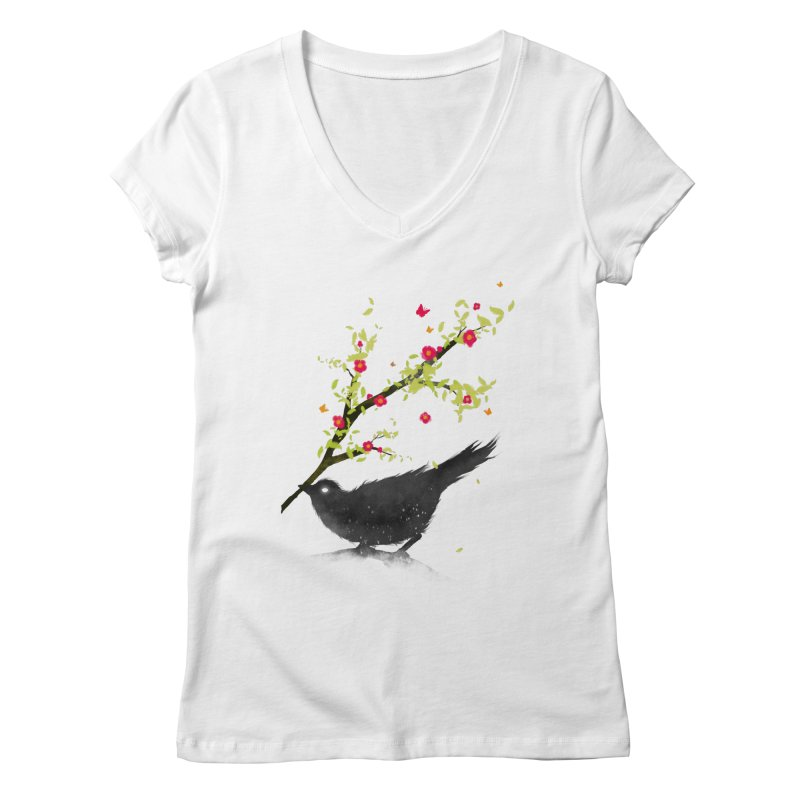 Spring Is Coming Women's V-Neck by nicebleed