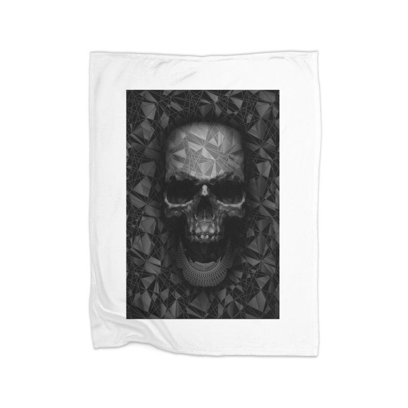 Geometric Skull Home Fleece Blanket by nicebleed