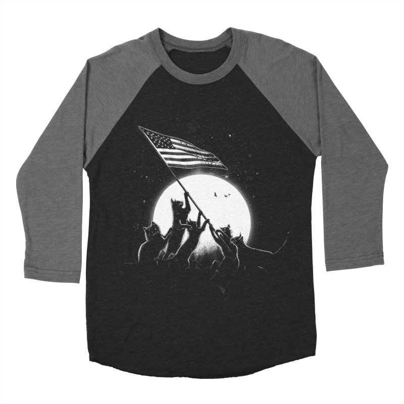 Freedom Cats American Flag Men's Baseball Triblend T-Shirt by nicebleed
