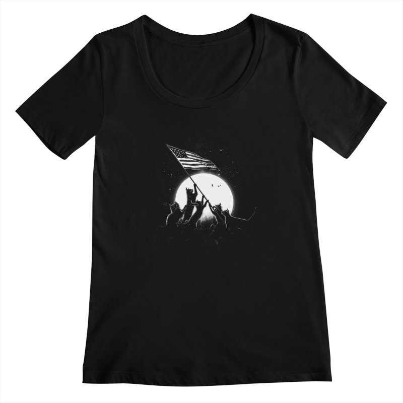 Freedom Cats American Flag Women's Regular Scoop Neck by nicebleed