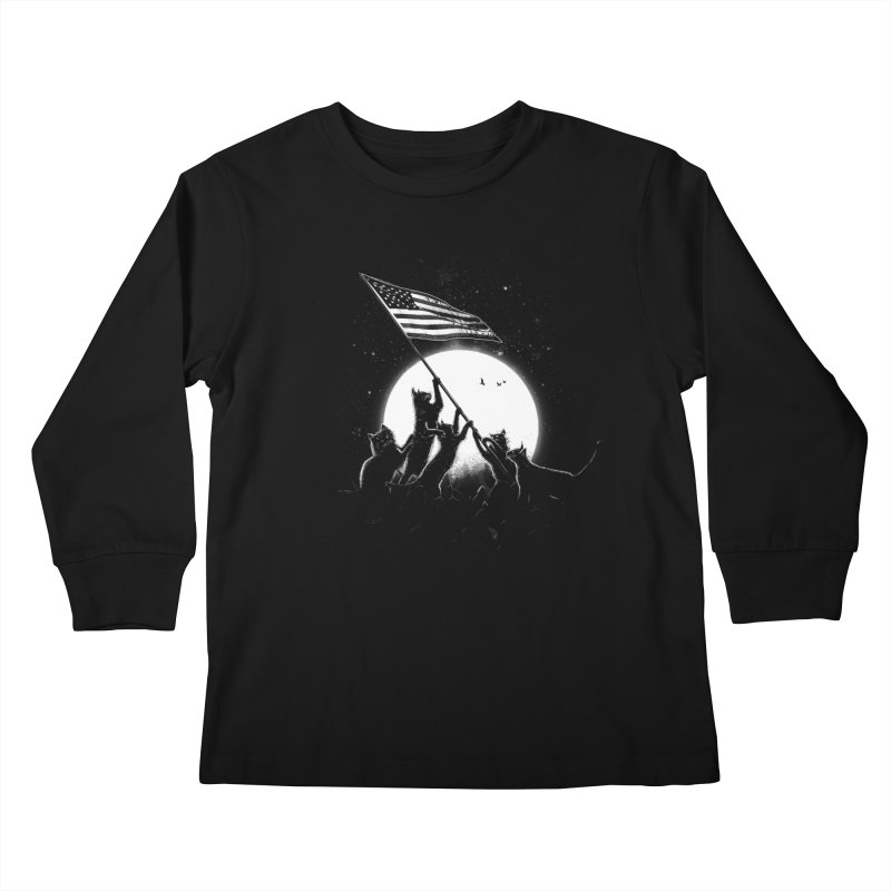 Freedom Cats American Flag Kids Longsleeve T-Shirt by nicebleed