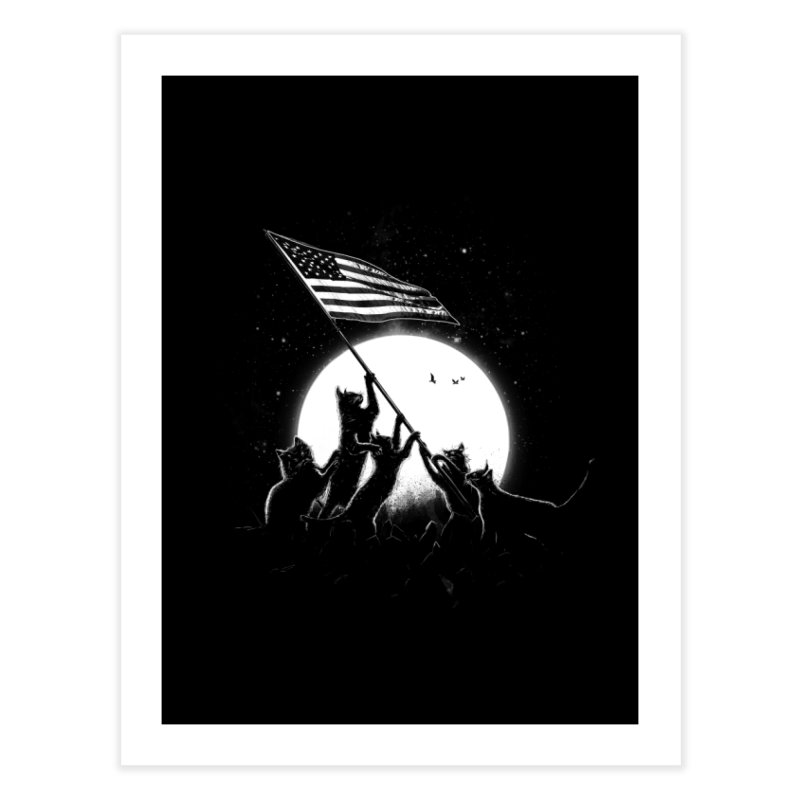 Freedom Cats American Flag Home Fine Art Print by nicebleed