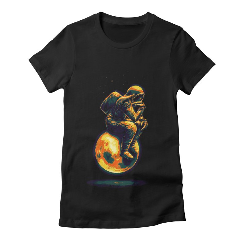 Space Thinker Women's Fitted T-Shirt by nicebleed