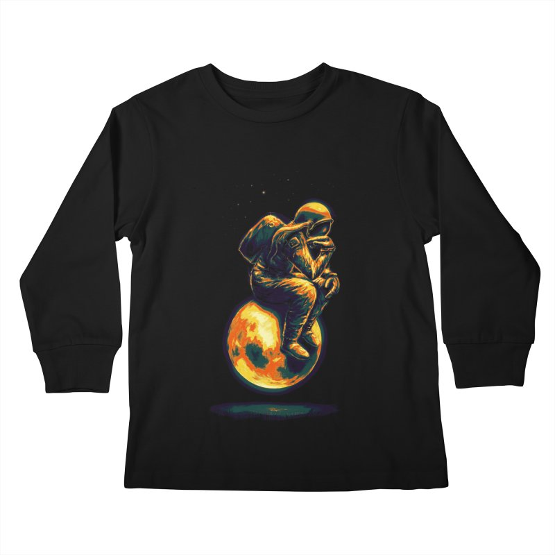 Space Thinker Kids Longsleeve T-Shirt by nicebleed