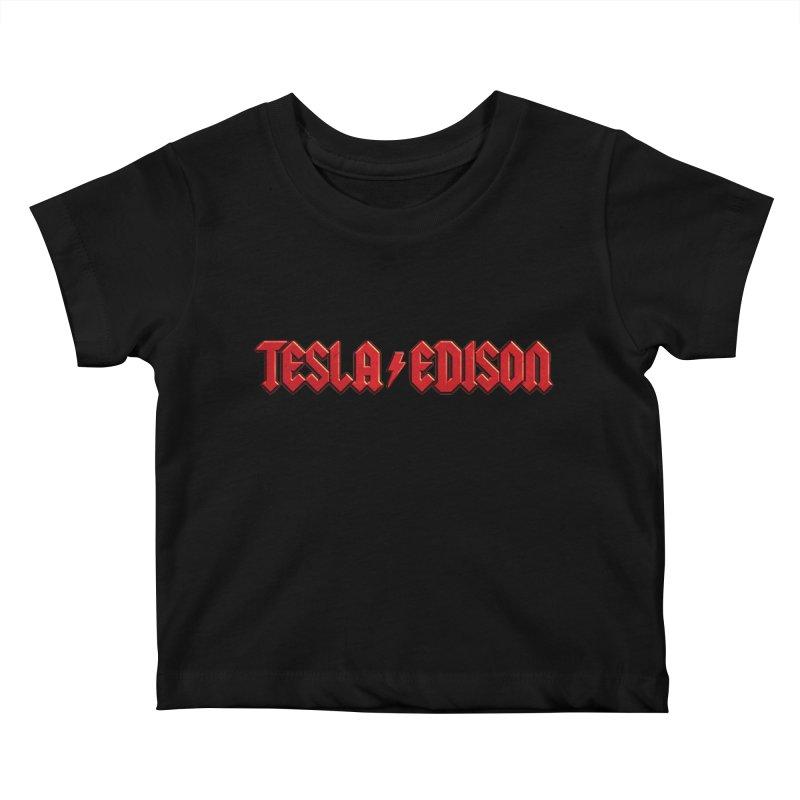 Tesla vs. Edison Kids Baby T-Shirt by nicebleed