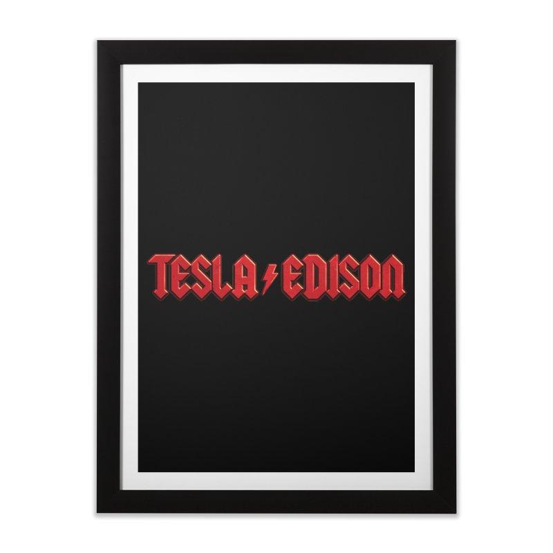 Tesla vs. Edison Home Framed Fine Art Print by nicebleed