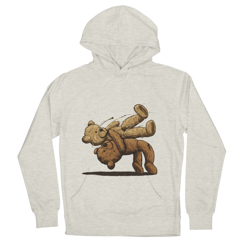 Bear Hug in Men's French Terry Pullover Hoody Heather Oatmeal by nicebleed