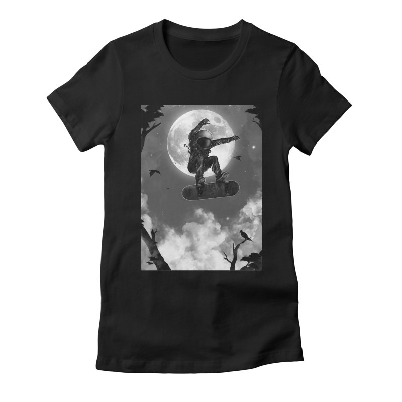 Spaceboarding Women's Fitted T-Shirt by nicebleed