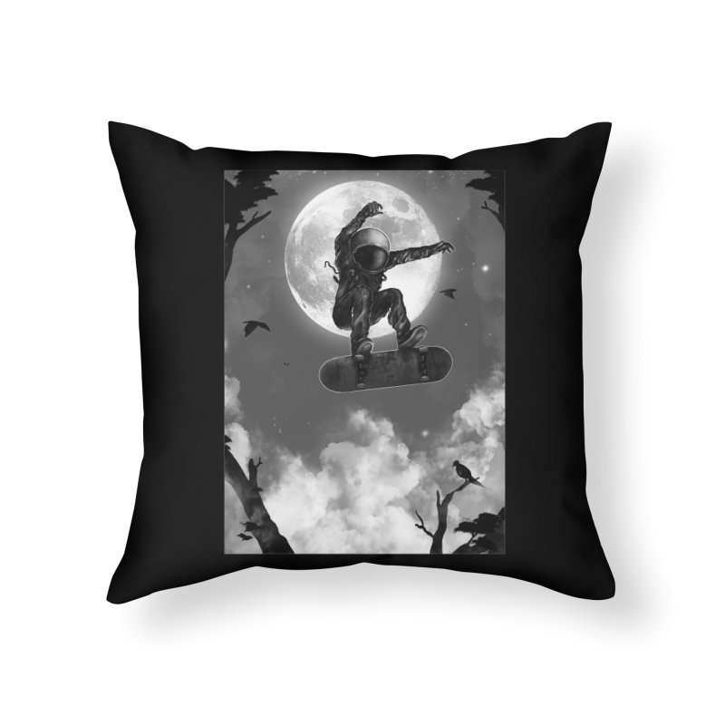 Spaceboarding Home Throw Pillow by nicebleed