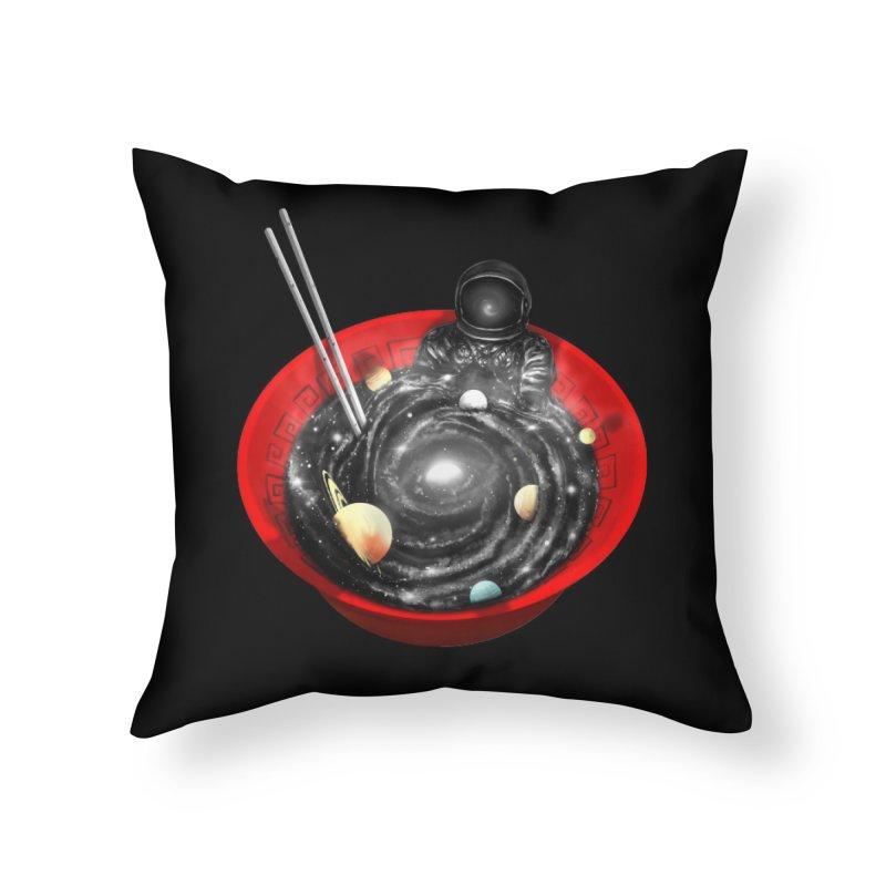Space Ramen Bath Home Throw Pillow by nicebleed