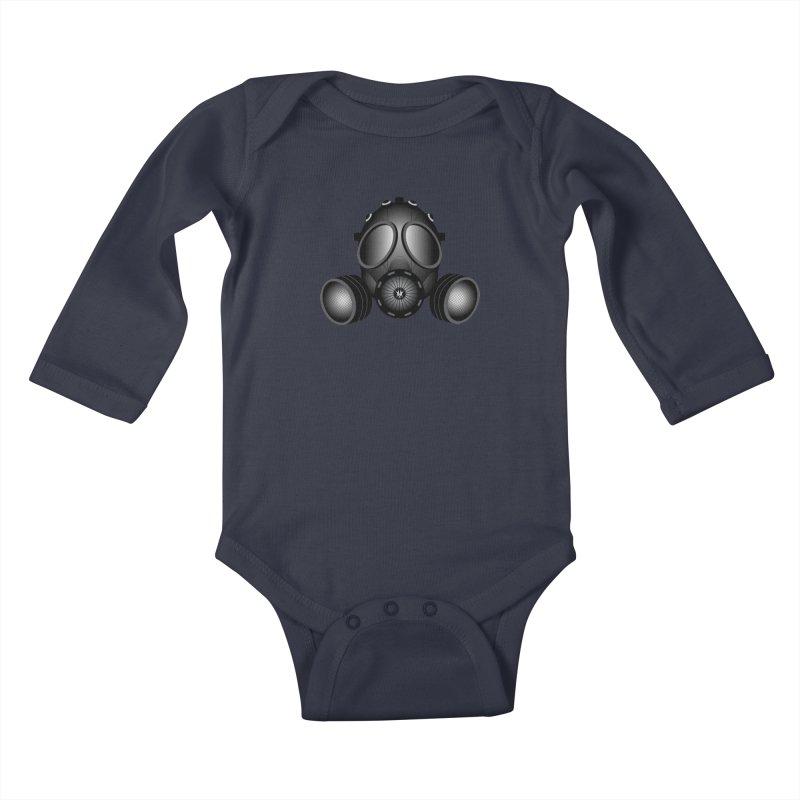 Gas Mask Kids Baby Longsleeve Bodysuit by nickaker's Artist Shop