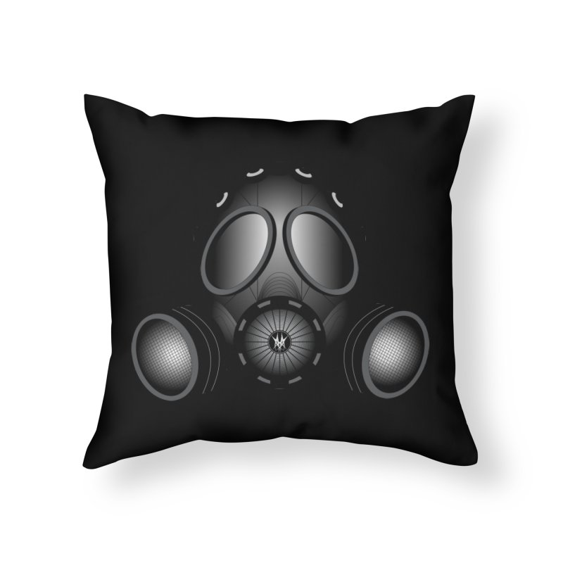 Gas Mask Home Throw Pillow by nickaker's Artist Shop