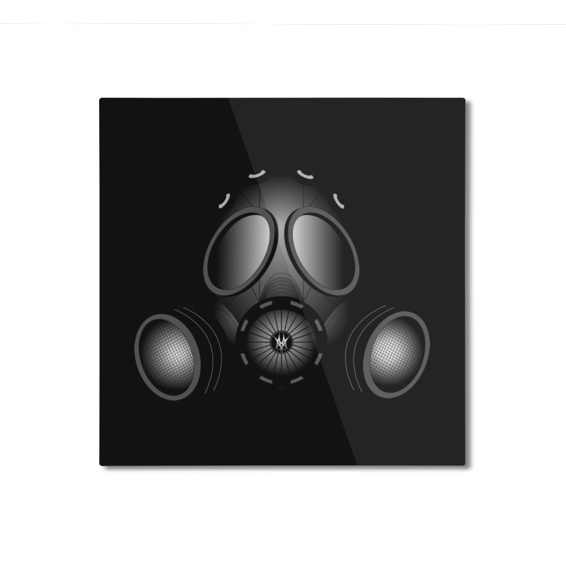 Gas Mask Home Mounted Aluminum Print by nickaker's Artist Shop