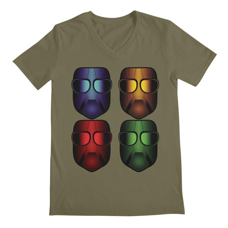 4 Masks Eins Men's Regular V-Neck by nickaker's Artist Shop