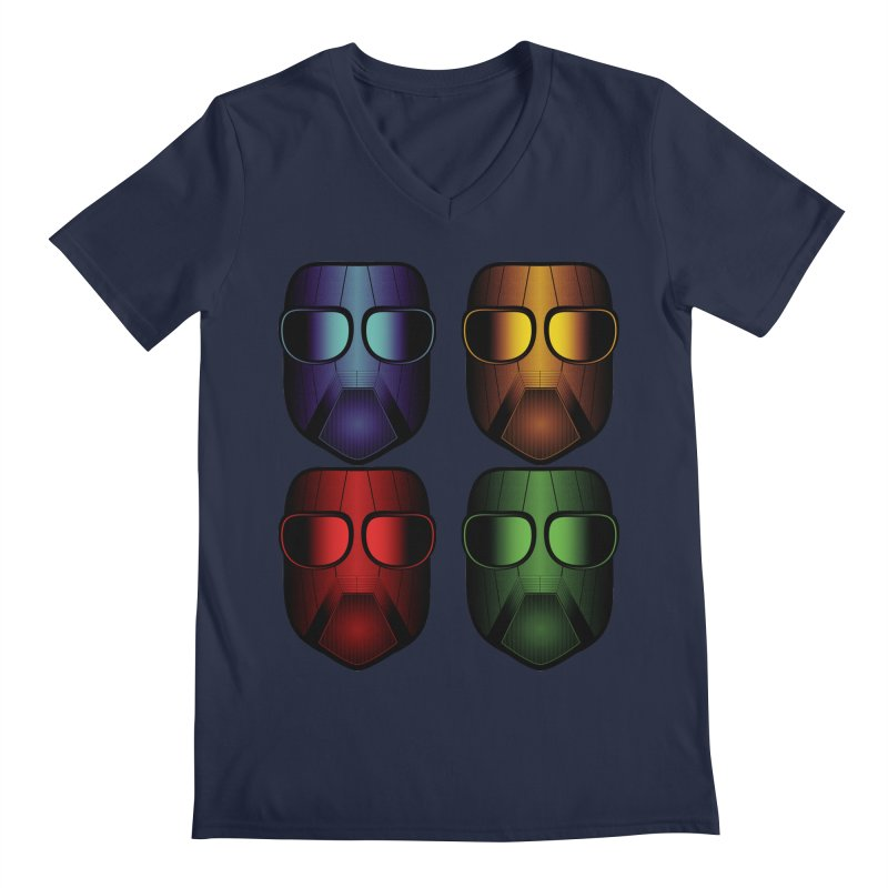 4 Masks Eins Men's Regular V-Neck by nickaker's Artist Shop