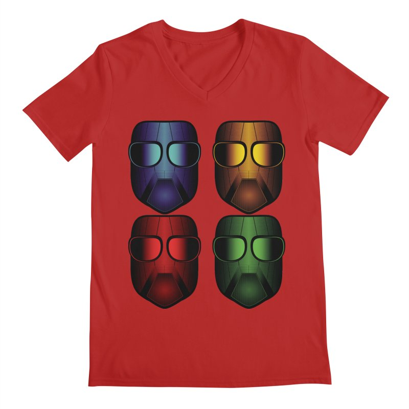 4 Masks Men's V-Neck by nickaker's Artist Shop