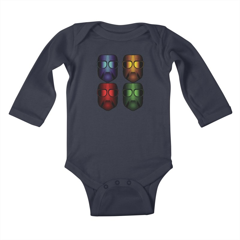 4 Masks Eins Kids Baby Longsleeve Bodysuit by nickaker's Artist Shop