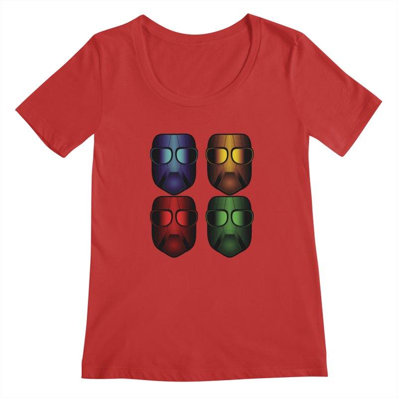 4 Masks Eins Women's Regular Scoop Neck by nickaker's Artist Shop