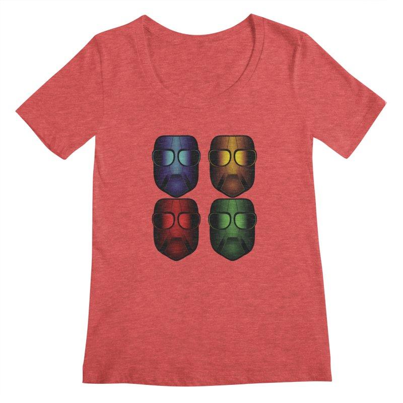 4 Masks Women's Scoopneck by nickaker's Artist Shop
