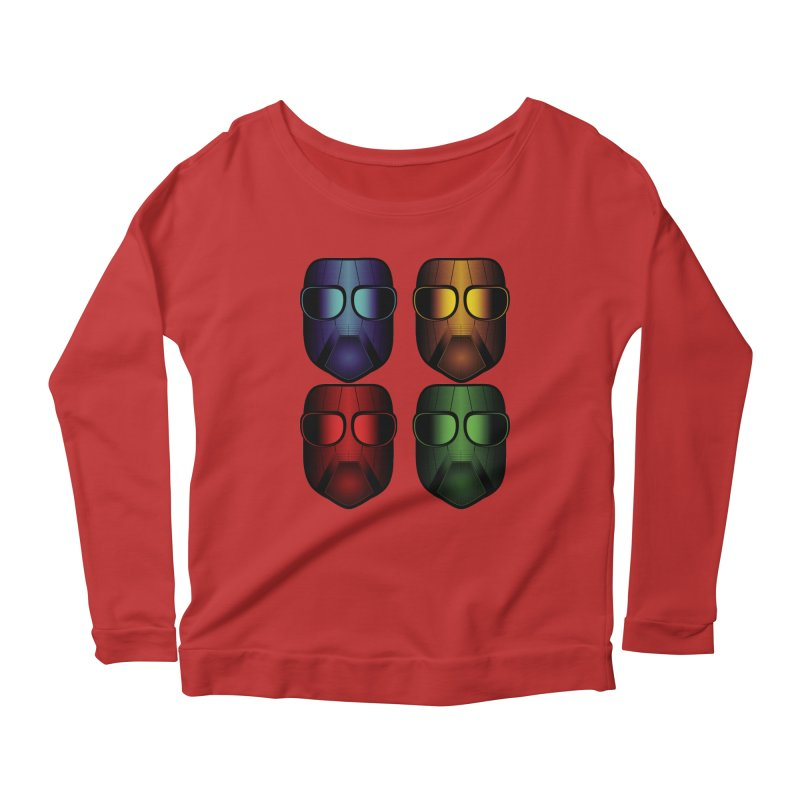 4 Masks Women's Longsleeve Scoopneck  by nickaker's Artist Shop