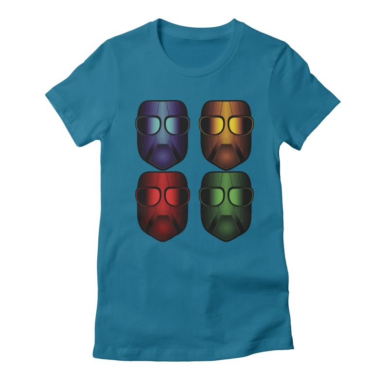 4 Masks Women's Fitted T-Shirt by nickaker's Artist Shop