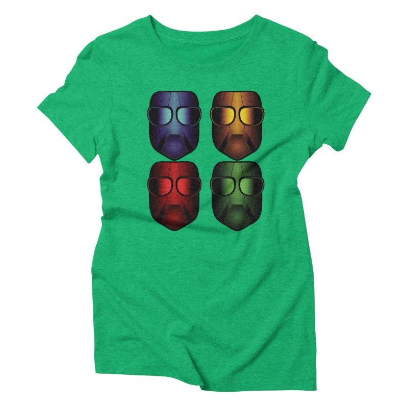 4 Masks Eins Women's Triblend T-Shirt by nickaker's Artist Shop