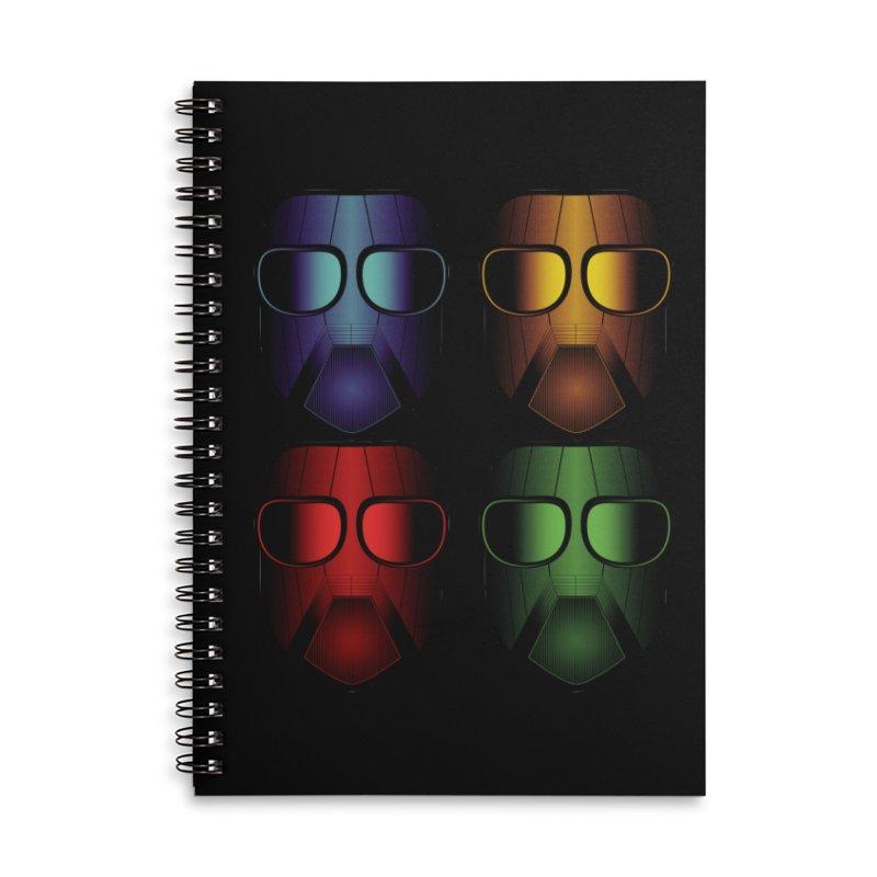 4 Masks Eins Accessories Lined Spiral Notebook by nickaker's Artist Shop