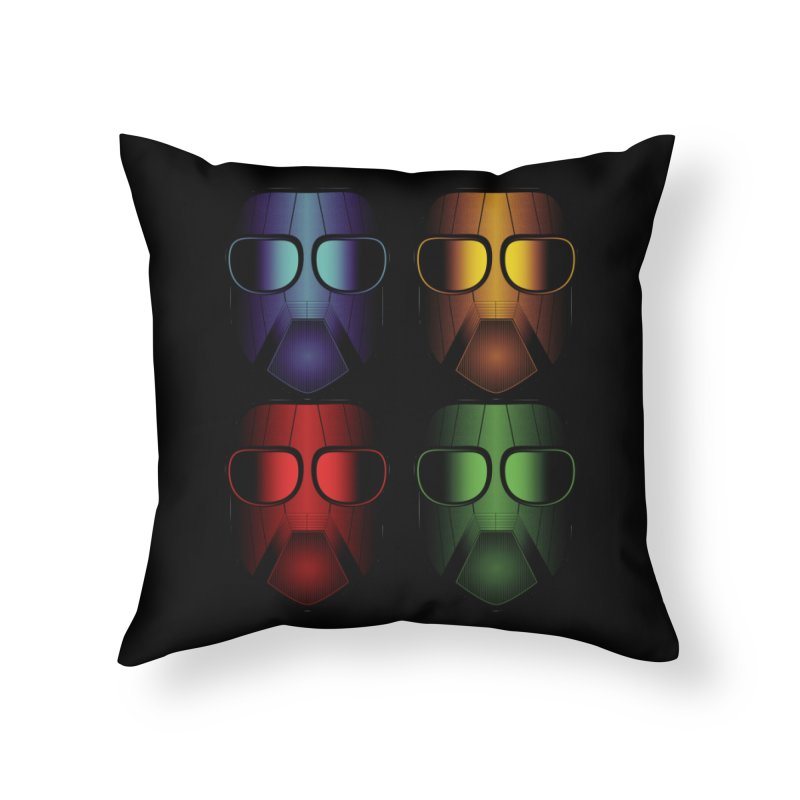 4 Masks Home Throw Pillow by nickaker's Artist Shop