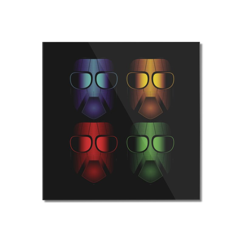 4 Masks Eins Home Mounted Acrylic Print by nickaker's Artist Shop